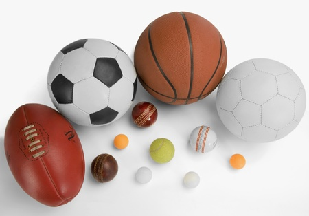 cricket ball: High angle view of assorted sports balls