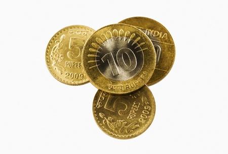 devanagari: Close-up of Indian coins Stock Photo