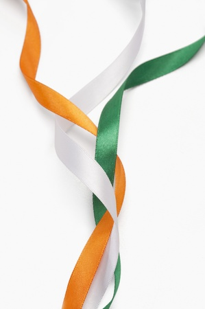 green flag: Ribbons representing Indian flag colors Stock Photo