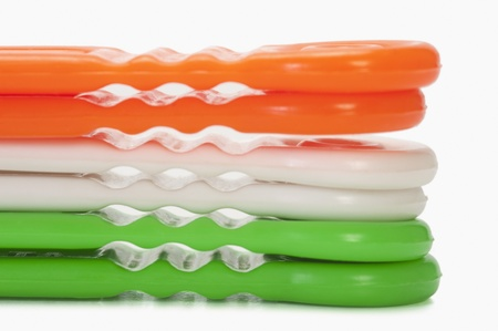 scrubbers: Scrubbers representing Indian flag colors Stock Photo