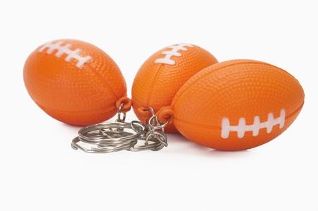 アメリカン フットボールのクローズ アップ形キー リング 写真素材