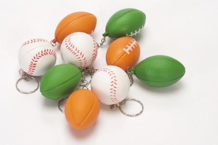 クローズ アップの盛り合わせボールの形のキーリング 写真素材