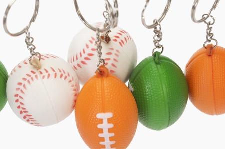 各種ボールのクローズ アップ形キー リング 写真素材