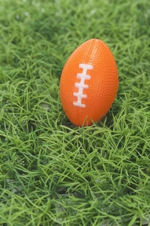 アメリカン フットボールの芝生の上のハイアングル