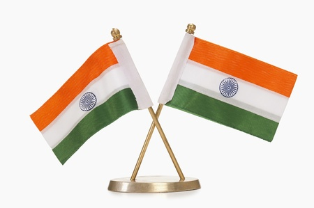 indian pattern: Close-up of miniature Indian flags Stock Photo