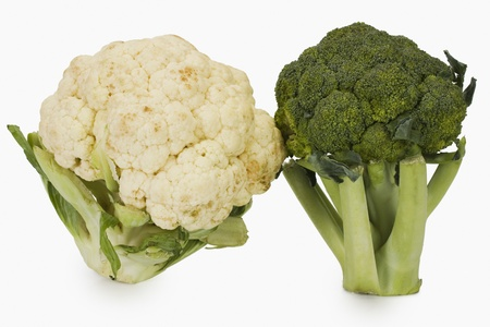 Close-up of a broccoli with a cauliflower