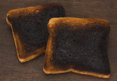 Close-up of burnt toasts
