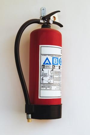 mounted: Close-up van een brandblusser Stockfoto