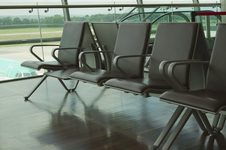Chairs in an airport lounge, Cork Airport, Cork, County Cork, Republic of Ireland 版權商用圖片