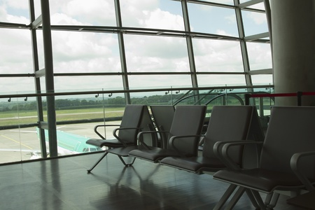 airport lounge: Chairs in an airport lounge, Cork Airport, Cork, County Cork, Republic of Ireland Stock Photo