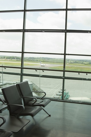 lounge: Chairs in an airport lounge, Cork Airport, Cork, County Cork, Republic of Ireland Stock Photo