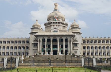 karnataka: Facade of a government building, Vidhana Soudha, Bangalore, Karnataka, India