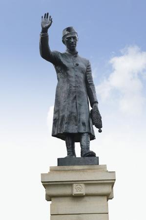 named person: Low angle view of a statue, Jawaharlal Nehru statue, Bangalore, Karnataka, India