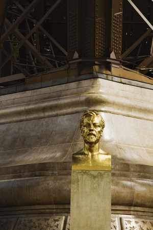 bust: Bust of Gustave Eiffel near a tower, Eiffel Tower, Paris, France Stock Photo