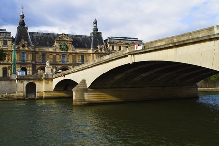 river: Arch bridge across the river with a palace, Luxembourg Palace, Seine River, Paris, France