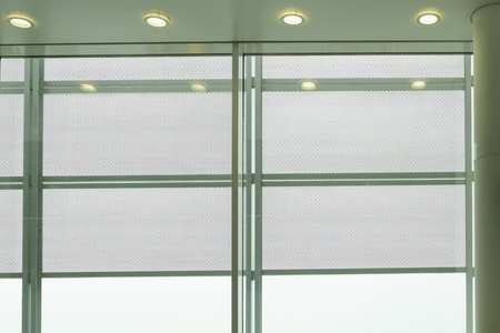 airport lounge: Fluorescent lights at an airport lounge, Paris, France Stock Photo