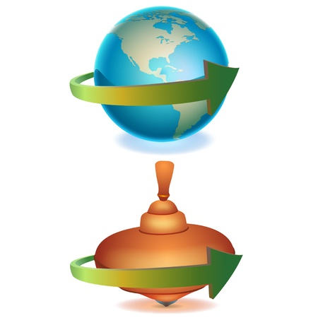 spinning top: Spinning earth and top