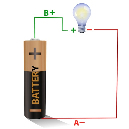 electric circuit: Battery connected to a light bulb Stock Photo