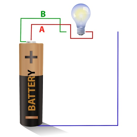 Battery connected to a light bulb photo