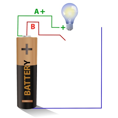 Battery connected to a light bulb Stock Photo - 10245619