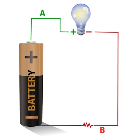 Battery connected to a light bulb Stock Photo
