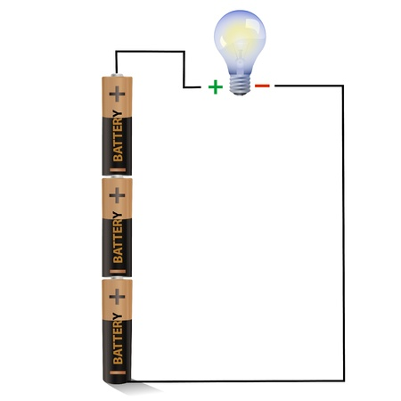 electric circuit: Batteries connected to a light bulb