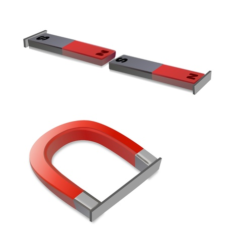 iron bars: Iron bars attached to magnets Stock Photo