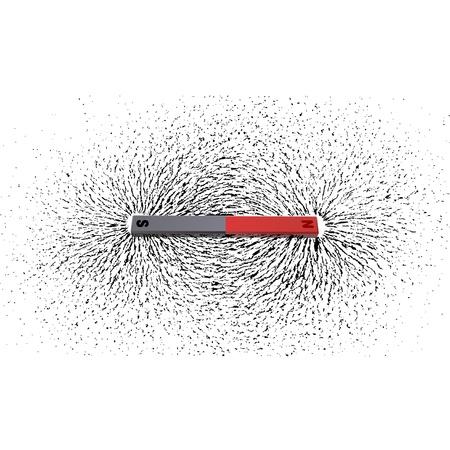 mágnes: Vasreszelék körül a mágnes Stock fotó