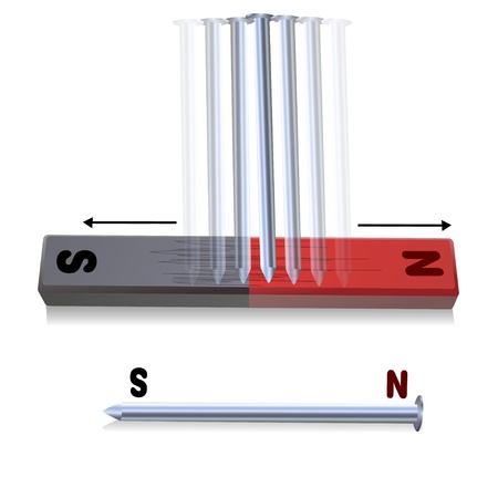 strong magnetic field: Nails attached to a magnet