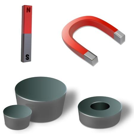 Verschillende soorten magneten Stockfoto