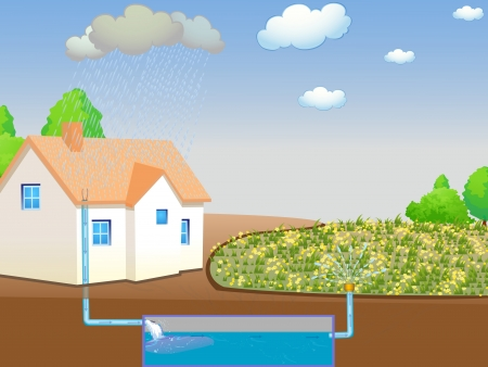 Illustration showing rainwater harvesting Stock Photo