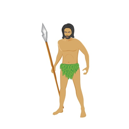Primitive man holding a spear Stock Photo