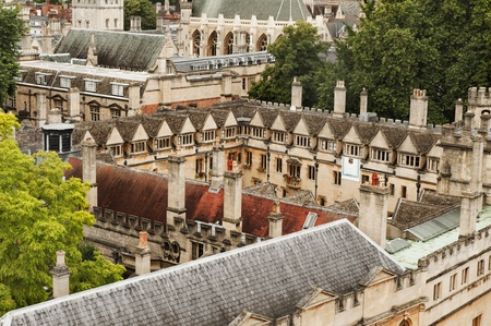 oxfordshire: High angle view of university buildings, Oxford University, Oxford, Oxfordshire, England