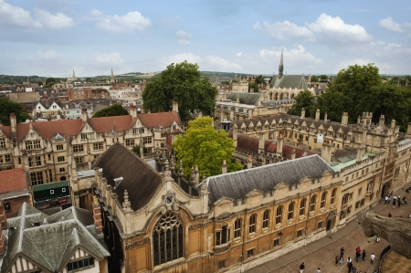 Hoge hoek bekijken van universitaire gebouwen, Oxford University, Oxford, Oxfordshire, Engeland Stockfoto
