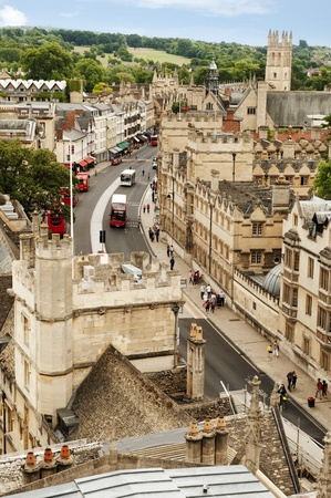 High angle view of buildings in a city, Oxford University, Oxford, Oxfordshire, England