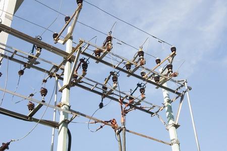 andhra: Low angle view of an electricity pylon, Tirupati, Andhra Pradesh, India
