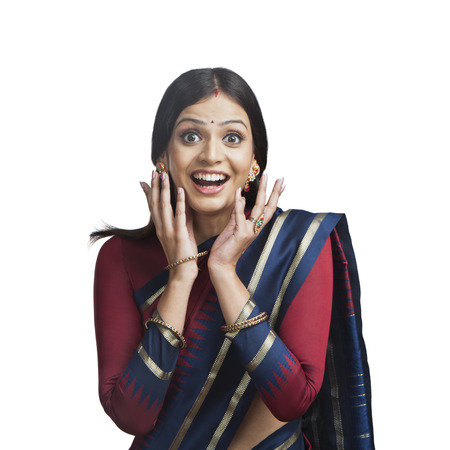 Traditionally Indian woman looking surprised