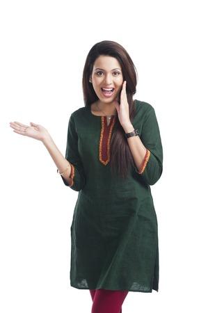 kameez: Portrait of a happy woman gesturing Stock Photo