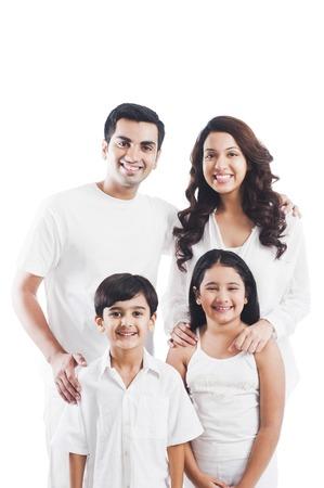 행복 한 가족의 초상화 미소