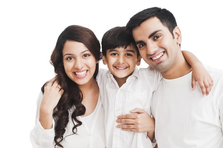 famille: Portrait d'une famille heureuse Banque d'images