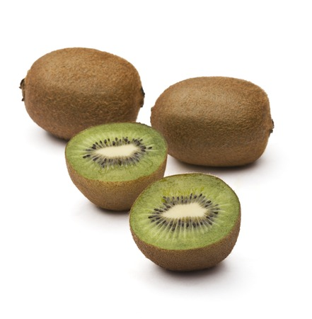 Close-up of kiwi fruits with halves