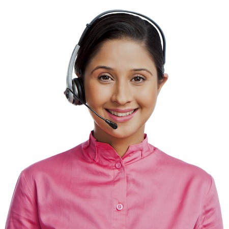 Portrait of a female customer service representative smiling photo