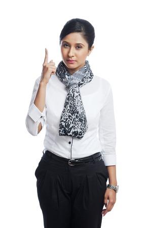 Portrait of a businesswoman gesturing photo