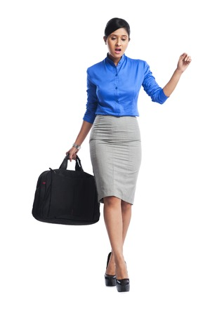 consciously: Businesswoman walking consciously