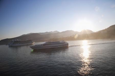 tyrrhenian: Cruise ships in the sea, Sorrento, Tyrrhenian Sea, Campania, Italy