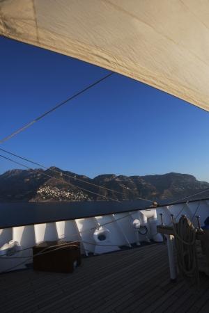 tyrrhenian: Clipper ship in the sea, Amalfi, Province Of Salerno, Gulf Of Salerno, Tyrrhenian Sea, Campania, Italy Stock Photo