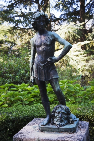 Statue in a garden, Amalfi, Province Of Salerno, Campania, Italy