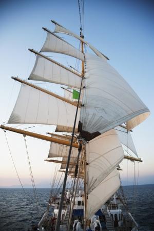 tyrrhenian: Clipper ship in the sea, Amalfi, Province Of Salerno, Gulf Of Salerno, Tyrrhenian Sea, Campania, Italy Editorial