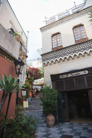 traditionally irish: Pub in a street, OSeven Irish Pub, Taormina, Province of Messina, Sicily, Italy