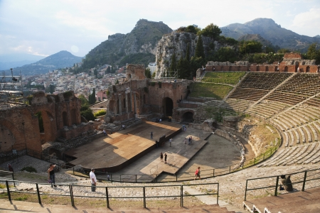 Tourists at ancient Greek theatre, Taormina, Province of Messina, Sicily, Italy Editorial